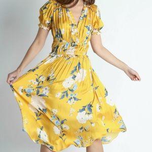 NWT Current Air Yellow Floral A-line Midi Dress L